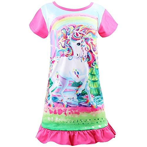 Sylfairy Unicorn Nightgown for Girls, Kids Rainbow Nightgowns Pajama Sleepwear Nightie Princess Night Dresses(Hot Pink+Unicorn,8-9Years)