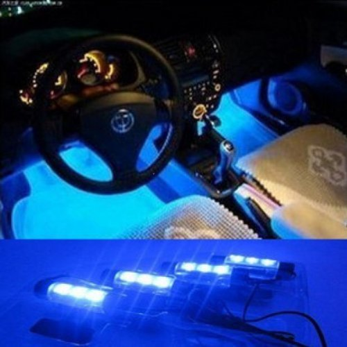OFKP® 2v 4x3 LED Car Auto Interior Decoration Lights Atmosphere Lamp (Blue) OFKP®