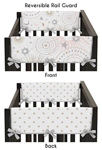 - Sweet Jojo Designs 2-Piece Blush Pink, Gold, Grey and White Star and Moon Side Crib Rail Guards Baby Teething Cover Protector Wrap for Celestial Collection by