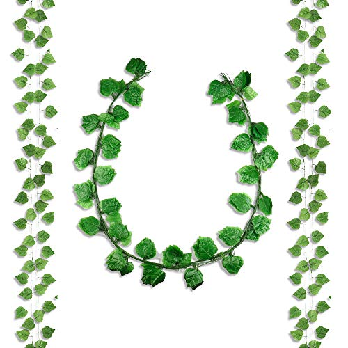 Miss Bloom Fake Greenery Garlands - 12 Pack 91ft Artificial Plant Ivy Vine - Silk Hanging Green Leaf Foliage for Wedding Garden Party Wall Decorations (Grape Leaves) from Miss Bloom
