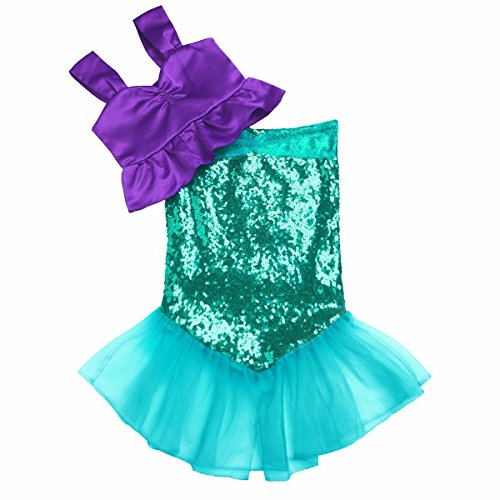 iEFiEL Kids Girls Shiny Sequins Mermaid Tails Party Holiday Costume Outfits Top+Skirt Purple&Green 4