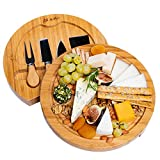 Bamboo Cheese Board With Cutlery Set - Bamboo Cheese Board Set With Slide Out Drawer - Bamboo Cheese Board And Knife Set (4 Cheese Knives included) - BlauKe