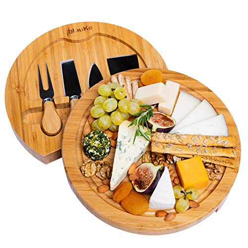 Bamboo Cheese Board With Cutlery Set - Bamboo Cheese Board Set With Slide Out Drawer - Bamboo Cheese Board And Knife Set (4 Cheese Knives included) - BlauKe (Sets Board Cheese)