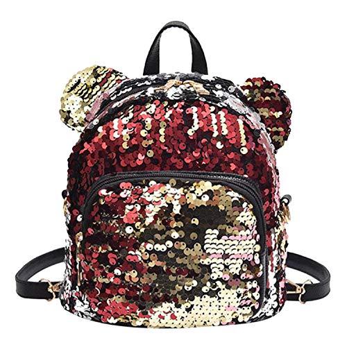 - Portable Women Sequins Bling Backpack Girls Mini School Bags for Teenage Girls Backpack Women Small Travel Bag Mochila,Multi