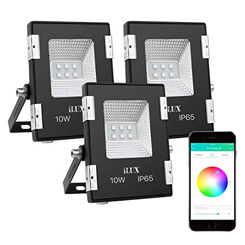 LE iLUX Smart LED Flood Lights, Outdoor Plug in, 10W RGB, IP65 Waterproof, Bluetooth Remote Control for iOS and Android, Color Changing with Music, Floodlights for Home, Garden, Balcony, Pack -