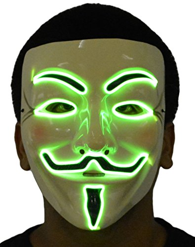 Halloween Rave Costumes Guys (JenniWears V for Vendetta Guy Fawkes Party Halloween Light Up EL Wire Mask Green)