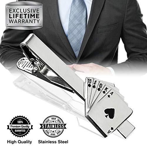 MGStyle Tie Clip, Mens Tie Bar, Men's Silver Tie Clips for Men, Royal Straight Flush Skinny Tie Bars for Ties Neckties, Poker Casino Metal Tie Clip Tack Pin Pinch Clasp, Regular Normal Size 2.2 Inch ()