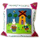 16x16 large springtime Pillow with Bunnies on Grassfield