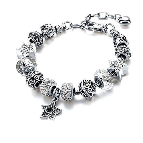 nestone Gorgeous Beaded Silver-Tone Snake Charm Bracelet, Adjustable Size ()