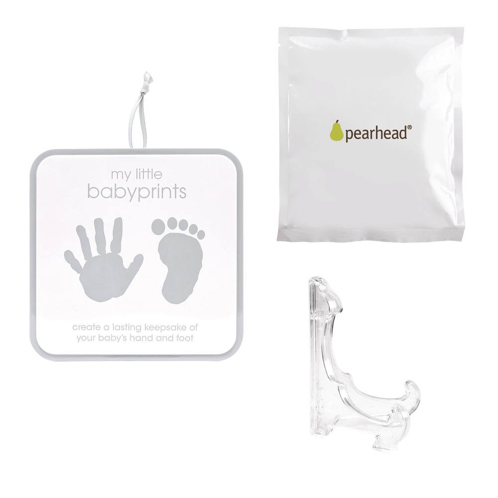 Handprint or Footprint Impression Kit and Keepsake Tin Perfect for Capturing Babys Print Grey Chevron Excellent First Fathers Day Gift for Dad Pearhead My Little Babyprints