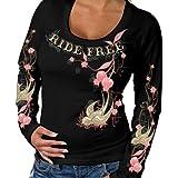 Hot Leathers Cherries Scoopneck Ladies Long Sleeve Tee - Junior Cut (Black, Large)