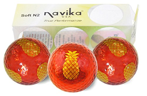 Hawaiian Golf Ball - Navika Golf Balls- Yellow Pineapple Imprint on Red Metallic Chrome High Visibility Color (3-Pack)