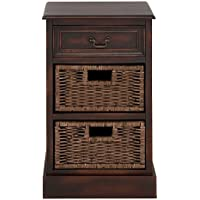 Urban Designs 3-Drawer Wooden Storage Chest Night Stand with Wicker Baskets