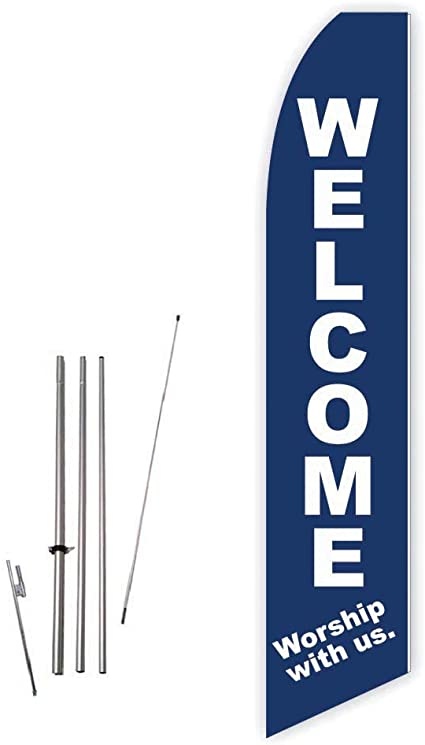 Amazon Com Welcome Worship With Us Dark Blue Super Novo Feather Swooper Flag Banner Complete With 15ft Pole Set And Ground Spike Garden Outdoor