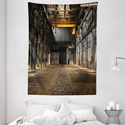 """Ambesonne Industrial Tapestry, Industrial Interior of Old Factory Building Construction Spooky Warehouse, Wall Hanging for Bedroom Living Room Dorm, 60"""" X 80"""", Yellow Grey"""