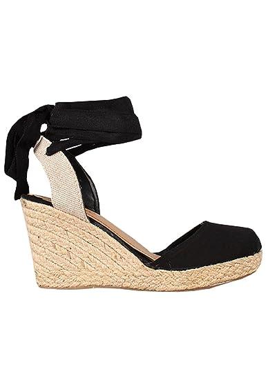 5363b0492c9 Ermonn Womens Platform Espadrille Wedge Sandals Lace Up Closed Toe Mid Heel  Slingback Sandals