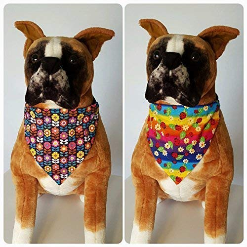 (Reversible Bandana, Spring, Colorful Flowers, Rainbow, Ladybugs, Scarf, Dog, Cat, Pet Slip On Over The Collar, (Does Not Tie) 2 in one)