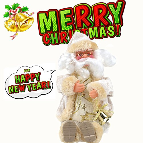 Sitting Santa Claus Doll Christmas Gift Doll Flannel Toys Xmas Decor 1pcs 25cm / 10 inch