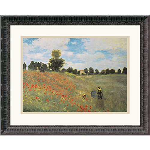 Framed Art Print, 'Poppies at Argenteuil, 1873' by Claude Monet: Outer Size 21 x 17