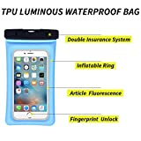 """Spuitom Universal Waterproof Case Unlock Touch ID Fingerprints Inflatable Ring Waterproof Pouch Dry Bag for iPhoneX/8/8plus/7/7plus Samsung Galaxy s8/s7 Smartphone Devices Up To 6.0"""" (sky blue)"""