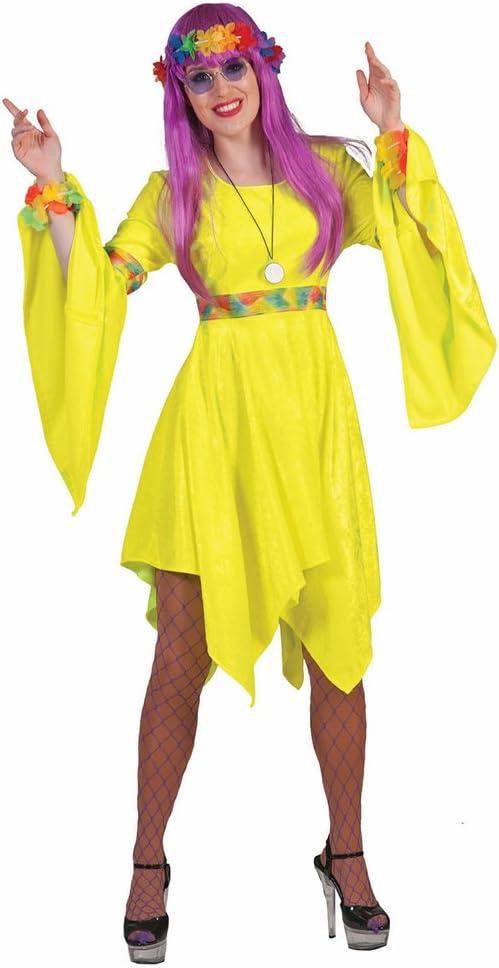 Disfraz de hippie amarillo fluo mujer S: Amazon.es: Juguetes y juegos