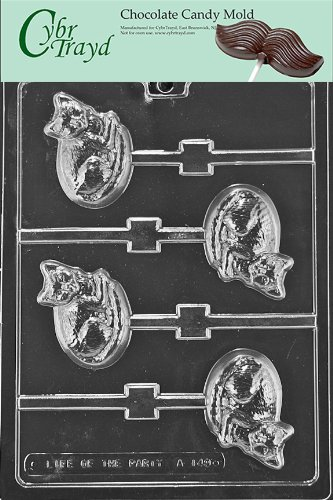 Cybrtrayd Life of the Party A149 Cat Lolly Animals Chocolate Candy Mold in Sealed Protective Poly Bag Imprinted with Copyrighted Cybrtrayd Molding Instructions