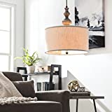 Contemporary Round Chandelier Suitable For Dining Rooms, Kitchen Areas, and Office Spaces. Elegant 20'' Drum Light Fixture Emits Soft Lighting. Circular Hanging Lamp With Ivory Shade Creates Comfort.
