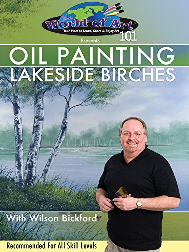 Free Oil Painting: Lakeside Birches