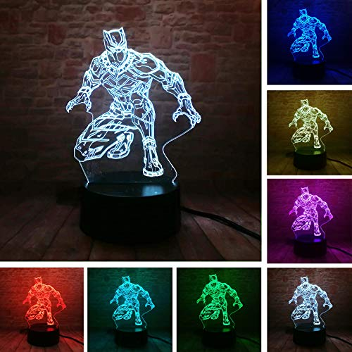 Marvel Movie Superhero Black Panther Action Figure 3D Table Lamp LED Night Lights Child Sleeping Decor Lamp Holiday Xmas Gifts (Black Panther)