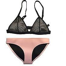 FLORAVOGUE Womens Neoprene Bikini Mesh Triangle Set Bathing Suit Set