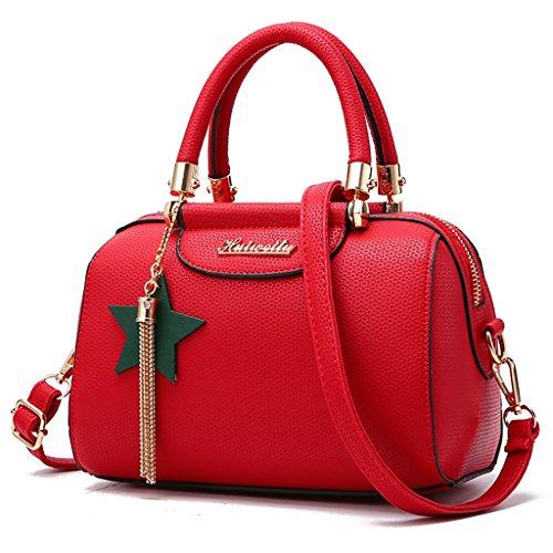 CLOTHES- Moda Tendencia de las mujeres europeas y americanas Bolso de la almohada Bolso de hombro Bolso Messenger Bag Bolso de señoras ( Color : Verde militar ) Rojo