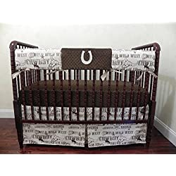 Baby Boy Crib Bedding Set, Cowboy Crib Rail Cover, Bumperless Crib Bedding, Horseshoe Crib Bedding - Choose Your Pieces