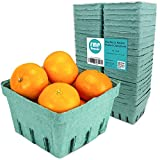 Green Molded Pulp Fiber Berry Basket Produce Vented Container for Fruit and Vegetable, Farmer Market, Grocery Stores and Backyard Party