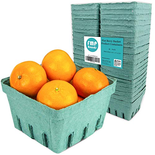 May Day Baskets ([44 Pack] Pint Green Molded Pulp Fiber Berry Basket Produce Vented Container for Fruit and Vegetable, Farmer Market, Grocery Stores and Backyard)