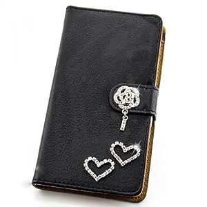 Portatil Style Design–Funda con función atril y brillantes corazones Flip Cover Carcasa Funda Case Modern Bag para HTC One M7en Negro