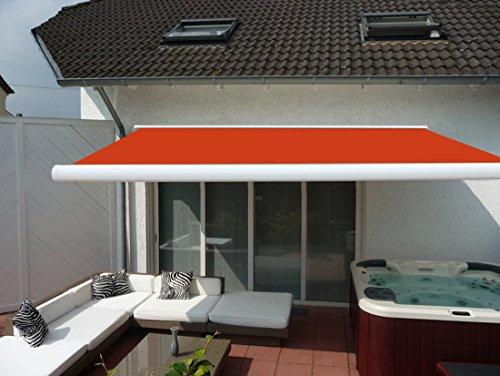 Prime Tech Elektrische Kassettenmarkise / Gelenkarm-Markise 400 x 300 cm / Gehäuse weiss / Tuch orange - rot / #580