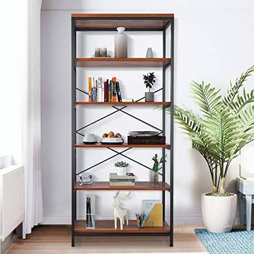 helf Wood Open Metal Ladder Idustrial Book Shelves Black Trestle Bookcase Furniture ()