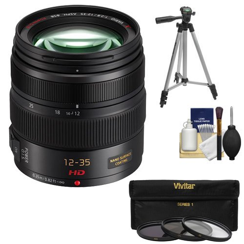 Panasonic Lumix G X Vario 12-35mm f/2.8 OIS Lens with 3 UV/CPL/ND8 Filters + Tripod + Accessory Kit for G5, G6, GF5, GF6, GH3, GH4, GM1, GX7 Digital Cameras