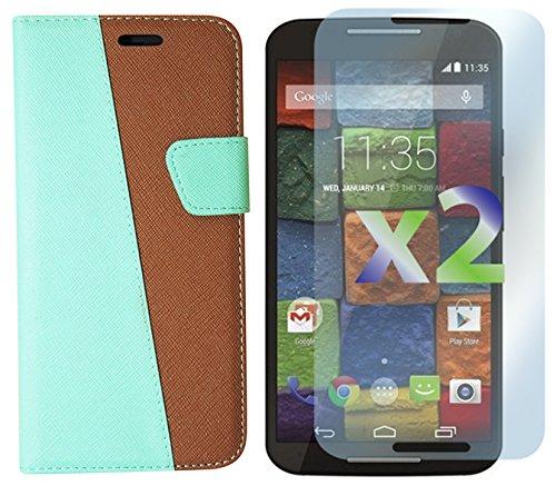 Exian Motorola Moto X2 Screen Guards x2 and Multi-Colour Wallet Case Green/Brown