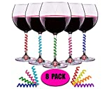 Wine Glass Charms Set of 8 Drink Markers for Cocktails, Martinis, Champagne Flutes and More by Simply Charmed