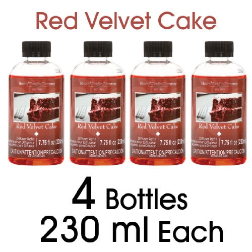 Hosley Red Velvet Cake Scented Reed Diffuser Refill Oil for Aromatherapy - Box of 4 / 230ml each - Made in USA. Ideal Gift for Wedding, Party, Spa, Aromatherapy, Bathroom O4