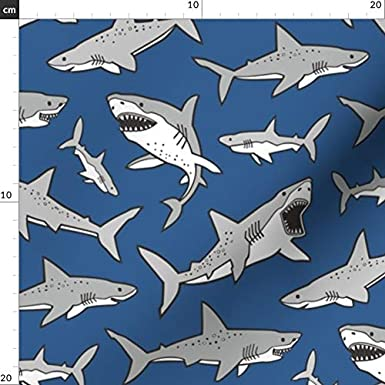 Polycotton Fabric Colourful Sharks Ocean Sea Life Fish Animals Great White Shark