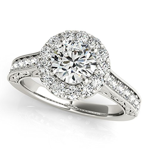MauliJewels 1 Ct. Halo Round Diamond Antique Milgrained Engagement Ring In 14k White - Princess Diamond Antique Engagement Ring