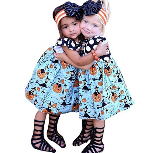 Kehen Toddler Girls Halloween Pumpkin Printed Dots Ruffle Costume Dress Blue (2T)