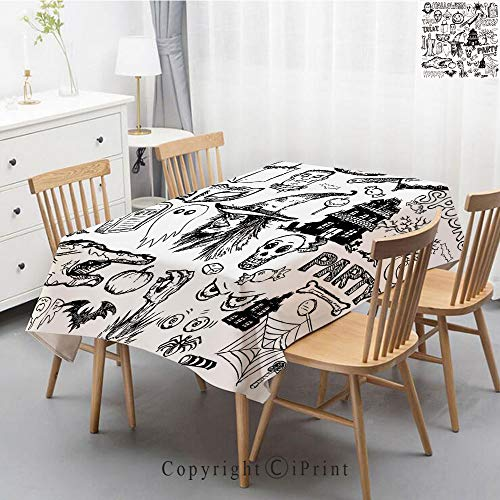 Printed Pattern Washable Table cloth Dinner Kitchen Home Decor Vintage Flower Decorative Square Linen Tablecloth,55x70 Inch,Vintage Halloween,Hand Drawn Halloween Doodle Trick or Treat Knife Party -