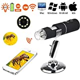WiFi Digital USB Microscope Camera with 1000x magnification HD 2MP and 8 LED Digital Microscope for iPhone, iPad, Android Phone, Windows, Mac