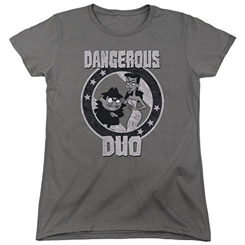 Ladies Rocky & Bullwinkle Dangerous Duo Shirt, Charcoal, Medium ()