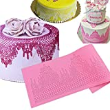 Anyana Novelty Giant jewels edible Lace mat Silicone imprint Mold Sugarcraft Wedding Cake Decorating Tools Impression Gumpaste Tool Kitchen chocolate Sugar Baking Mould Cookie chandelilac