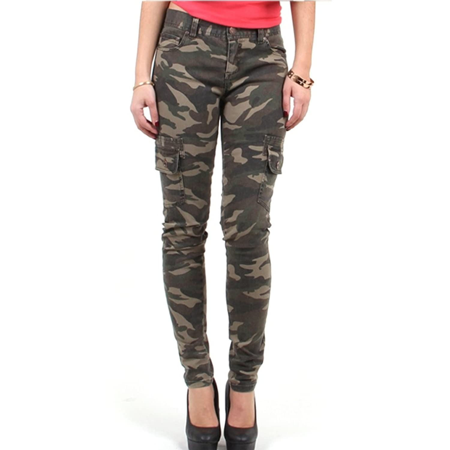 Red Fox Girls' Camo Skinny Cargo Pants Olive at Amazon Women's ...