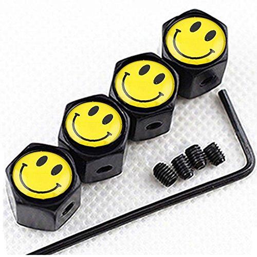 Suzuki Carbon Fiber Air Cover - CHAMPLED (4PC) Yellow Smile Logo Metal Black Wheel TIRE AIR Valve STEM CAPS DUST Cover